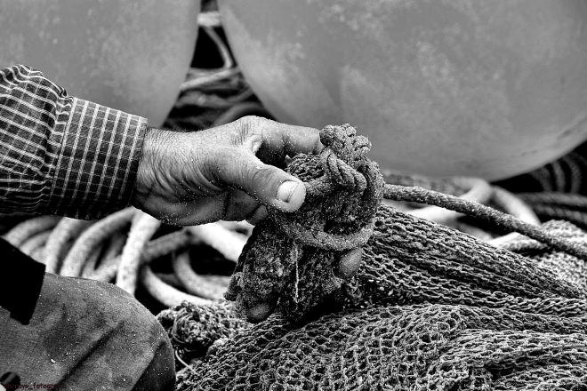 o ti augusto segura o nó da corda que prende a calima ao fundo do saco
